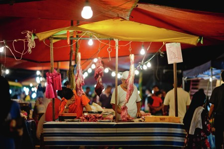Butchers at the night market