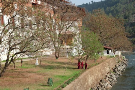 3 Monks strolling over the river bank of Punakha Dzong