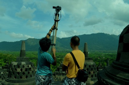 Filming at Borobudur Temple