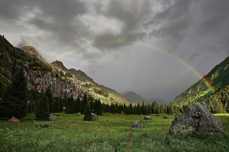 Rainbow over Kora gorge