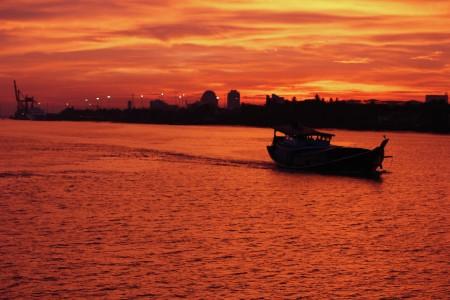 Sunset in River Yangon