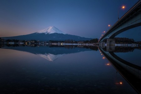 Mt. Fuji & bridge in a still water