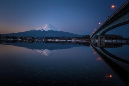 Mt. Fuji & bridge in a still water