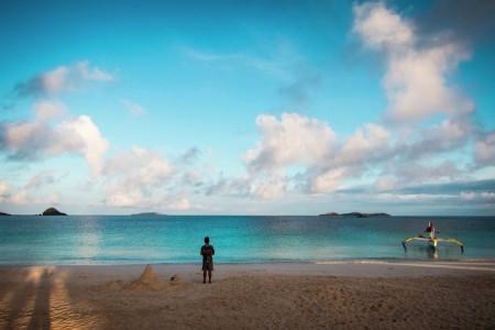 Calaguas Island's sky, water and sand